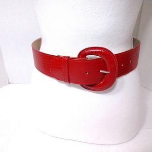 Wide Red Belt Faux Animal Skin XS